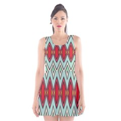 Rhombus And Chevrons Pattern Scoop Neck Skater Dress