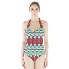Rhombus And Chevrons Pattern Women s Halter One Piece Swimsuit