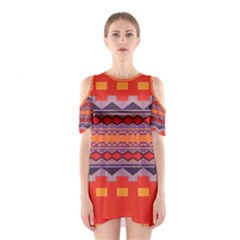 Rhombus Rectangles And Triangles Women s Cutout Shoulder Dress