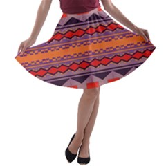 Rhombus rectangles and triangles A-line Skater Skirt