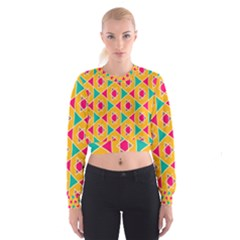 Colorful Stars Pattern   Women s Cropped Sweatshirt