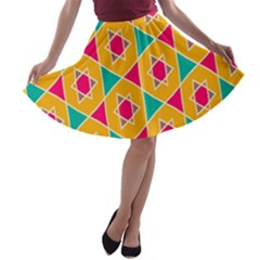 Colorful stars pattern A-line Skater Skirt