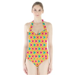 Colorful Stars Pattern Women s Halter One Piece Swimsuit