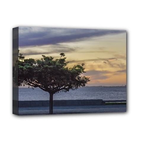Sunset Scene at Boardwalk in Montevideo Uruguay Deluxe Canvas 16  x 12
