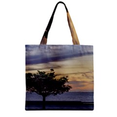 Sunset Scene at Boardwalk in Montevideo Uruguay Zipper Grocery Tote Bags