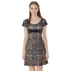 Luxury Patterned Modern Baroque Short Sleeve Skater Dresses