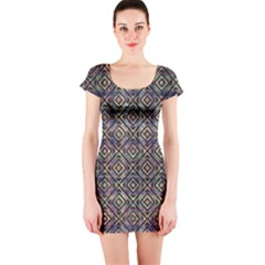 Luxury Patterned Modern Baroque Short Sleeve Bodycon Dresses