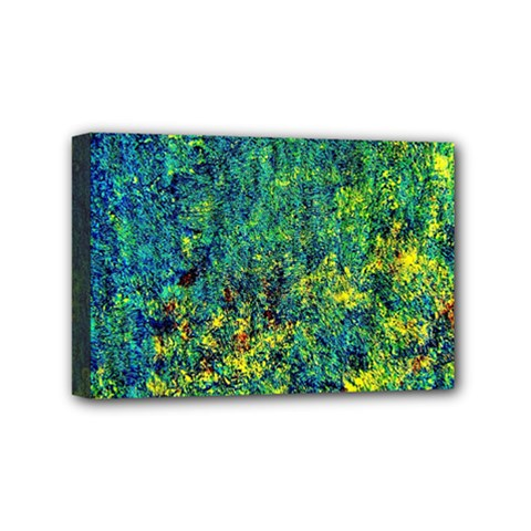 Flowers Abstract Yellow Green Mini Canvas 6  x 4