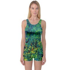 Flowers Abstract Yellow Green One Piece Boyleg Swimsuit