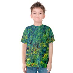 Flowers Abstract Yellow Green Kid s Cotton Tee