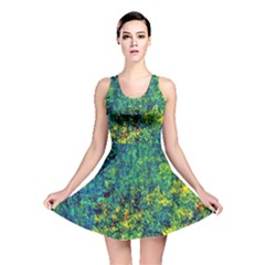 Flowers Abstract Yellow Green Reversible Skater Dresses