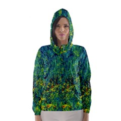 Flowers Abstract Yellow Green Hooded Wind Breaker (Women)