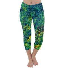 Flowers Abstract Yellow Green Capri Winter Leggings
