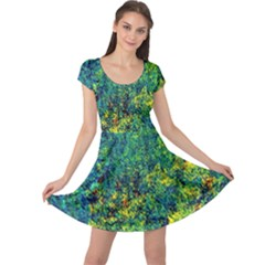 Flowers Abstract Yellow Green Cap Sleeve Dresses