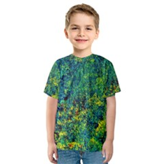 Flowers Abstract Yellow Green Kid s Sport Mesh Tees