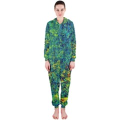 Flowers Abstract Yellow Green Hooded Jumpsuit (Ladies)