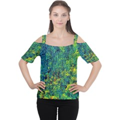 Flowers Abstract Yellow Green Women s Cutout Shoulder Tee
