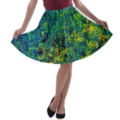 Flowers Abstract Yellow Green A-line Skater Skirt