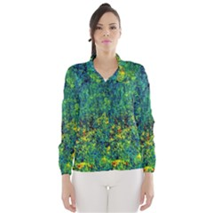 Flowers Abstract Yellow Green Wind Breaker (Women)