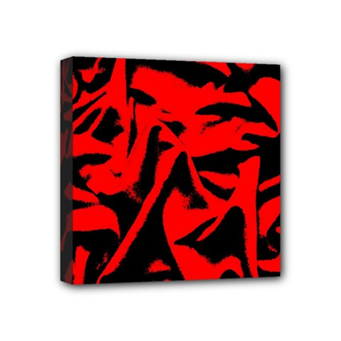 Red Black Retro Pattern Mini Canvas 4  x 4