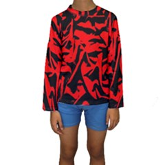 Red Black Retro Pattern Kid s Long Sleeve Swimwear