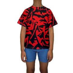 Red Black Retro Pattern Kid s Short Sleeve Swimwear