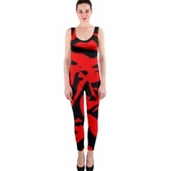 Red Black Retro Pattern OnePiece Catsuits
