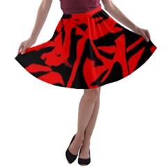 Red Black Retro Pattern A-line Skater Skirt