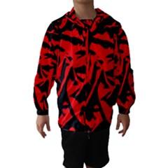 Red Black Retro Pattern Hooded Wind Breaker (Kids)