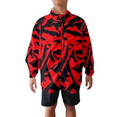 Red Black Retro Pattern Wind Breaker (Kids)