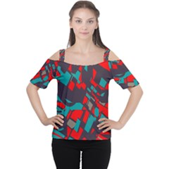 Red blue pieces Women s Cutout Shoulder Tee