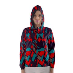 Red blue pieces Hooded Wind Breaker (Women)