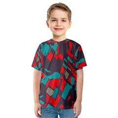 Red blue pieces Kid s Sport Mesh Tee