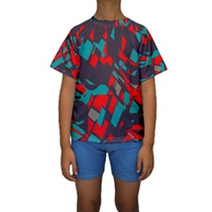 Red blue pieces  Kid s Short Sleeve Swimwear