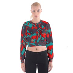 Red blue pieces   Women s Cropped Sweatshirt