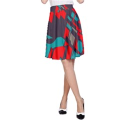 Red Blue Pieces A Line Skirt
