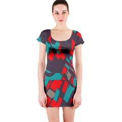 Red blue pieces Short sleeve Bodycon dress