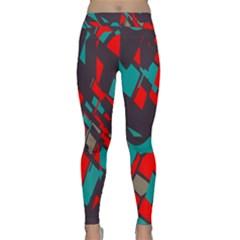 Red Blue Pieces Yoga Leggings