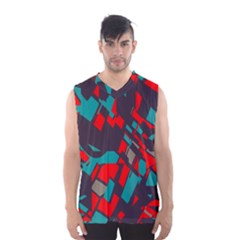 Red Blue Pieces Men s Basketball Tank Top