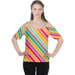 Colorful diagonal stripes Women s Cutout Shoulder Tee