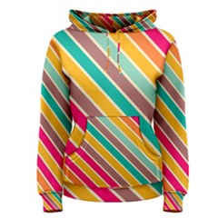 Colorful diagonal stripes Women s Pullover Hoodie