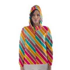 Colorful diagonal stripes Hooded Wind Breaker (Women)