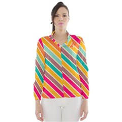 Colorful diagonal stripes Wind Breaker (Women)