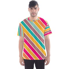 Colorful Diagonal Stripes Men s Sport Mesh Tee