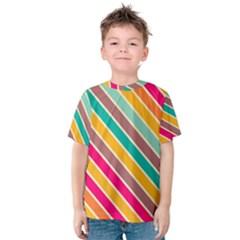 Colorful Diagonal Stripes Kid s Cotton Tee