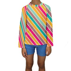 Colorful diagonal stripes  Kid s Long Sleeve Swimwear