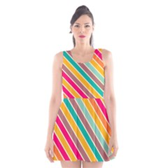 Colorful diagonal stripes Scoop Neck Skater Dress