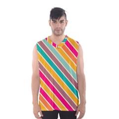 Colorful Diagonal Stripes Men s Basketball Tank Top