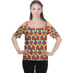 Honeycombs Triangles And Other Shapes Pattern Women s Cutout Shoulder Tee