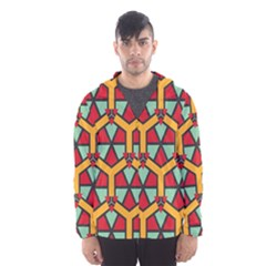 Honeycombs Triangles And Other Shapes Pattern Mesh Lined Wind Breaker (men)